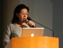 A nutricionista Veruska Scabim durante sua palestra.
